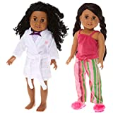 "Springfield PJ Sets, Fits 18"" Amercian Girl Dolls, 6 Items: Tank Top & Stripe Doll Pajamas, Tank & Undies, Robe, Slippers"