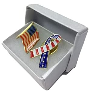 American Flag Lapel Pin & Flag Ribbon Lapel Pin (1 of Each Design) - Support Our Troops Pins, USA Pins, America Pins, Freedom Pins, Set of 2