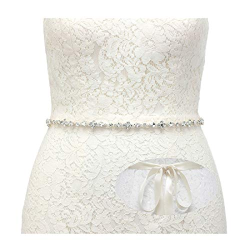 SWEETV Rhinestone Wedding Belt Crystal Bridal Belt Headband Bridesmaid Sash Belt for Women Dress & Gown, Silver