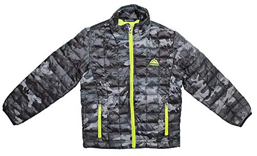 - Snozu Boys Glacier Shield Quilted Jacket Dark Camo/Lime Medium 10/12