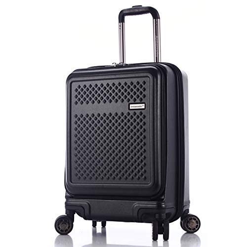 20' Trolley Bag - AMBASSADOR LUGGAGE Hardshell Premium Lightweight carry on 20'' Luggage with Laptop compartment with TSA lock (BLACK)