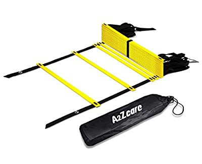 A2ZCare Agility Ladder - Speed Training Equipment for Footwork, Soccer, Athletic, Basketball and Sport Training Drills - Workout Ladder with Carry Bag and 4 Stakes - Yellow