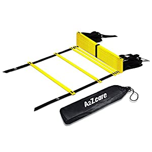 A2ZCARE Agility Ladder Speed Ladder Speed Training Tool for Footwork, Soccer, Athletic, Basketball and Sport Training Drills Speed Ladder with Carry Bag and 4 Stakes Yellow