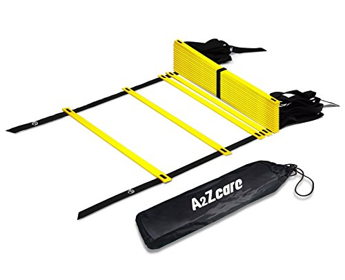 A2ZCare Agility Ladder Speed Training Equipment for Footwork, Soccer, Athletic, Basketball and Sport Training Drills Workout Ladder with Carry Bag and 4 Stakes Yellow