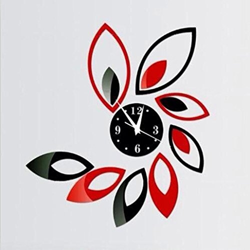 Pollyhb Modern Flower DIY Mirror Wall Clock Black And Red Petals Sticker DIY Mirror Wall Clock Wall Sticker Home Decoration (A)