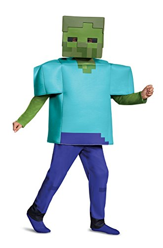 Mine Craft Halloween Costumes (Disguise Zombie Deluxe Child Costume, Green,)