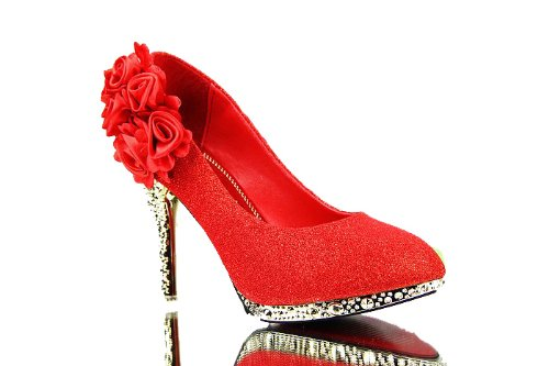 Floriation Pumps Women's WeenFashion Flowers with Shiny Sixflowers Red vwAO4qOX