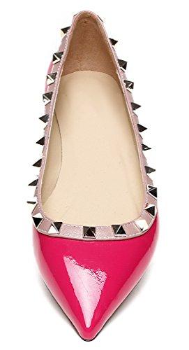Rivet Flats UK Pink 3 Shoes Toe Vaneel 5 Pointed Womens tqwppI6