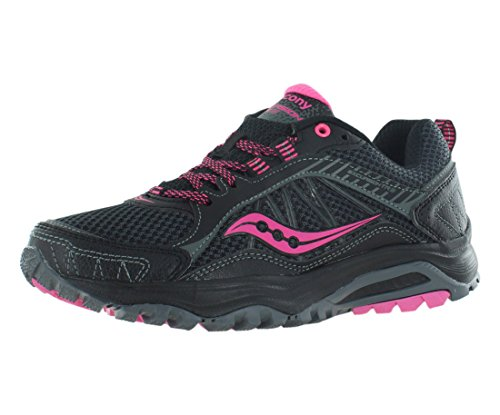 Saucony Women's Grid Excursion TR9 Trail Running Shoe, Black/Pink, 8 M US