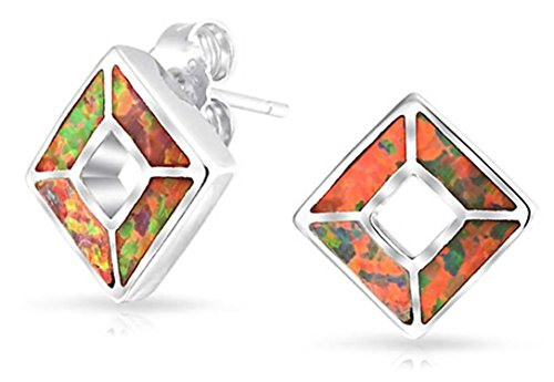 Geometric Square Inlay Orange Mexican Fire Created Opal Stud Earrings Sterling Silver 13MM October Birthstone