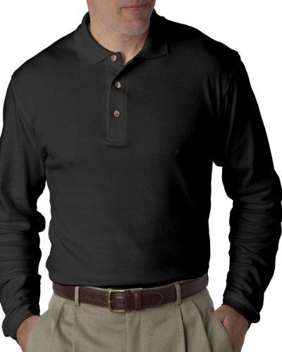 ian Interlock Long-Sleeve Polo 8501 - Black_3XL ()