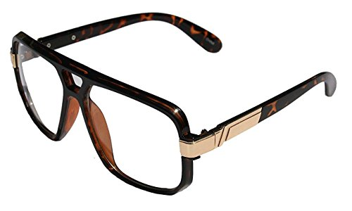 Gazelle Swag Square Oversized Sunglasses w/ Clear Lenses (Tortoise & Gold, - Glasses Mens 80s