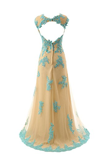 sunvary una línea Jewel cuello sin mangas Backless Vestido de fiesta noche bata Gold and blue