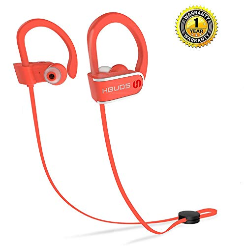 Earphones Headphones Orange - Bluetooth Headphones, Best Wireless Sport Earphones Hbuds H1 w/Mic IPX7 Waterproof HD Stereo in Ear Earbuds for Gym Running Working Out 9 Hour Battery Noise Cancelling (Orange)