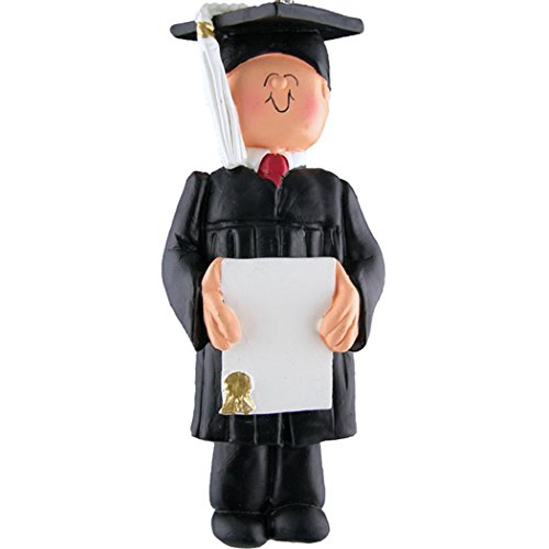 Personalized New Grad Boy Christmas Tree Ornament 2019 - Male Academic Degree Man in Dress Cap with Diploma Undergraduate PhD Masters High End of School Grand-Son - Free Customization