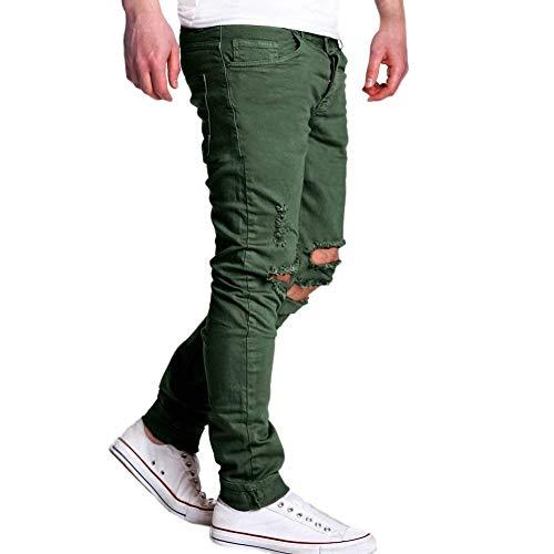 Aderenti Fit Streetwear Stile Grün Hip Slim Maschili Da Distrutti Pantaloni Uomo Jeans N Hop Semplice Strappati Estivi Nero HqU6w1x