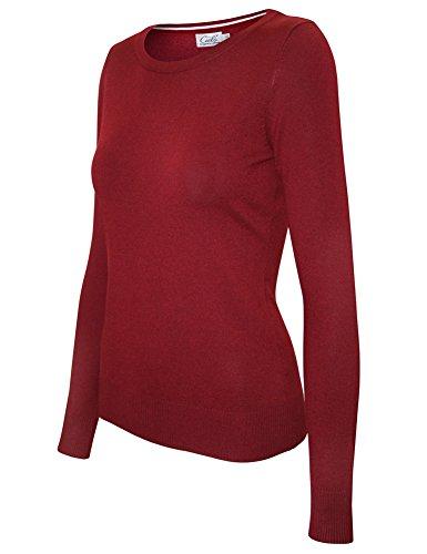 Cielo Women's Solid Soft Stretch Crewneck Pullover Knit Sweater Burgundy - Crewneck Sweater Trim Striped