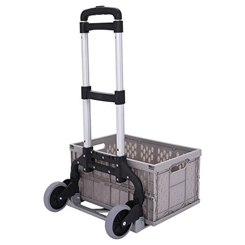 Ferty Folding Portable Lightweight Hand Truck, Capacity of 177lbs with Collapsible and Detachable Crate