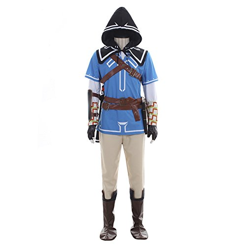 Legend of Zelda Link Costume Halloween Cosplay Full Set Anime Hero Costume Blue 3XL -