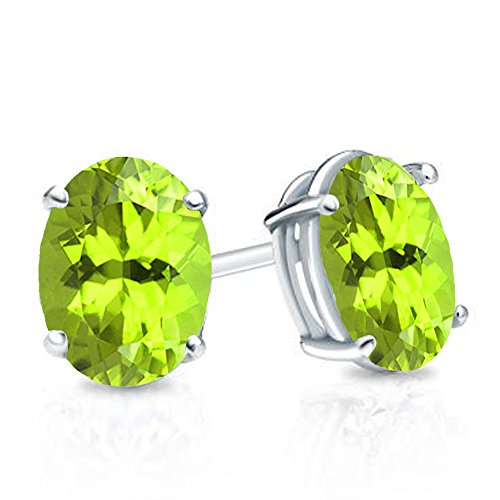 Dazzlingrock Collection 14K 6x4 mm each Oval Cut Peridot Ladies Solitaire Stud Earrings, White Gold