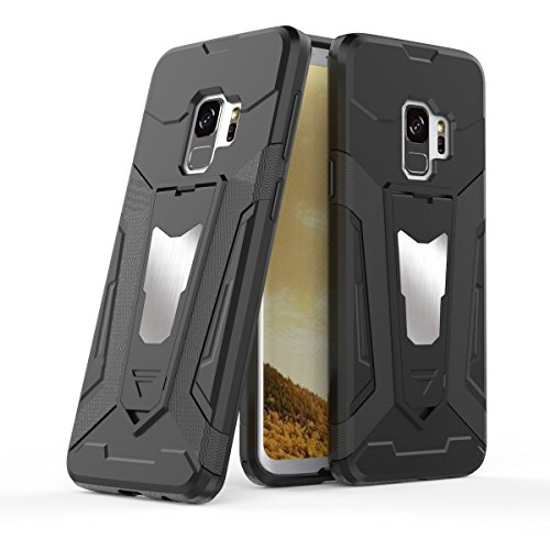 Samsung Galaxy S9 Plus Case, Refined Edge Finish, Ultra Slim Protection (TPU+PC) with Magnet Mount Ready Metal Plate and Kickstand, Robo Series, Black by Max K (S9 Plus) - Kickstand Mount