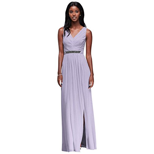 David's Bridal Long Mesh Bridesmaid Dress with V-Neck and Beaded Waistband Style W11092, Iris, - V-neck Waistband