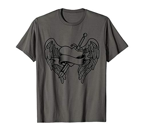 Heart Wings Sword Bleeding Love Tattoo Valentine's Day T-Shirt