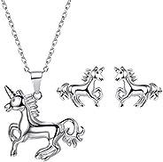 Women Girls Unicorn Jewelry 925 Sterling Silver Cute Animal Stud Earrings/Necklace