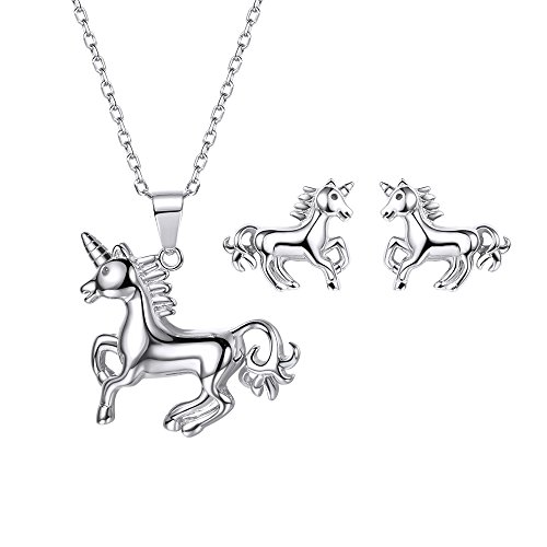 Unicorn Jewelry Set Girls Cute Animal Stud Earrings Necklace 925 Sterling Silver