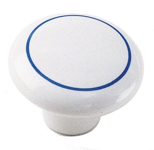 Laurey 1827 Mesa 1-1/4-Inch Diameter Ceramic Knob, White with Blue Ring by - Mesa Ceramic Knob