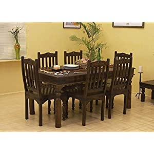Diksha Furniture Solid Sheesham (Rosewood) Wood 6 Seater Royal Look Dining Table For Living Room Home Hall Hotel Dinner Restaurant Wooden Dining Table Dining Room Set Dining Table With 6 Chairs | Standard Size | Dark Brown