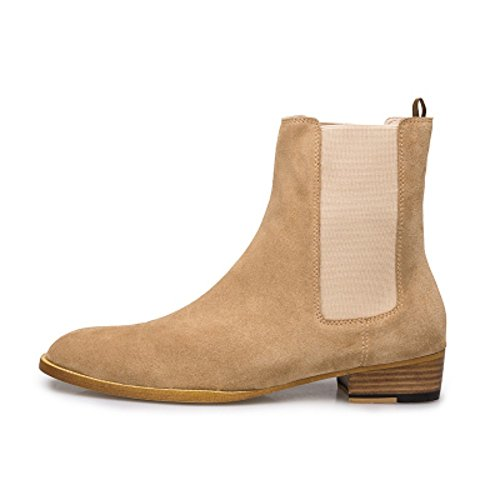 jinfu Chelsea Boots Mens Khaki Suede Casual Party Dress Boots Ankle Boots Formal Shoes (US 7.5) PRrA8W