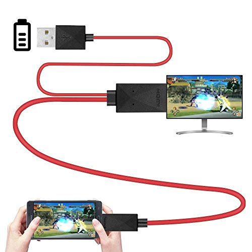 Semoic 6.5 Feet MHL Micro-USB to HDMI Adapter Converter Cable 1080P HDTV for Android Devices Samsung Galaxy S3 S4 S5 Note 3 Note 2 Note 8 Note Pro Galaxy Tab 3 (11 Pin, Red) (Mhl Micro Usb To Hdmi Adapter Converter Cable)