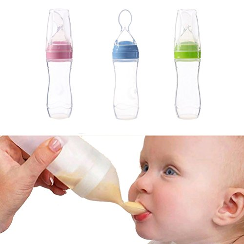 (Reizbaby Baby Bottle Spoon Feeder for Rice Cereal Vegetable Fruit Puree Squeezable Food Dispensers 120 ml)