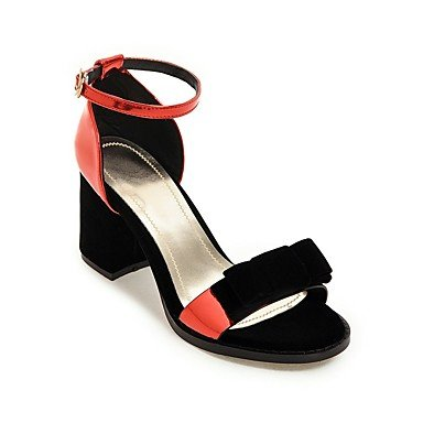 Luce YCMDM donne sandali primavera-estate Soles similpelle casuale tacco grosso Rosso Argento Oro , red , us10.5 / eu42 / uk8.5 / cn43