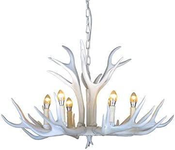 EFFORTINC Vintage Style Resin White Antler Chandelier 6 Lights,Living Room,Bar,Cafe