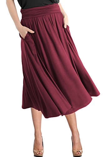 TRENDY UNITED Women's Rayon Spandex High Waist Shirring Flared Pocket Skirt (S0030-BGD, L) ()