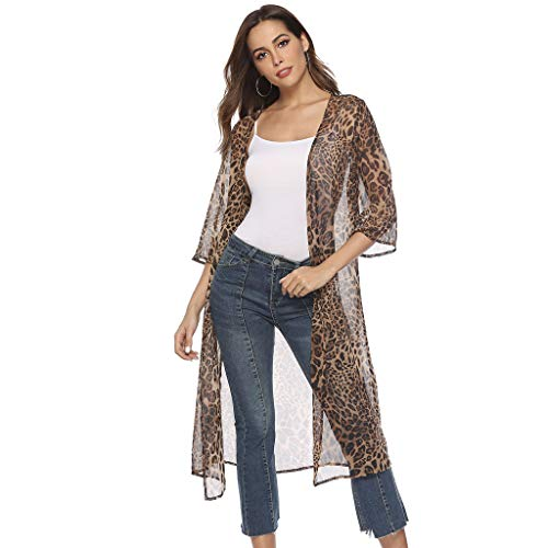 Women Fashion Chiffon Cardigan Leopard Print Half Sleeve Stitching Long Cardigan Sunscreen Coat (M, Khaki)