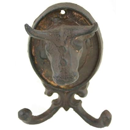 Perchero de pared de hierro fundido Bull: Amazon.es: Oficina ...