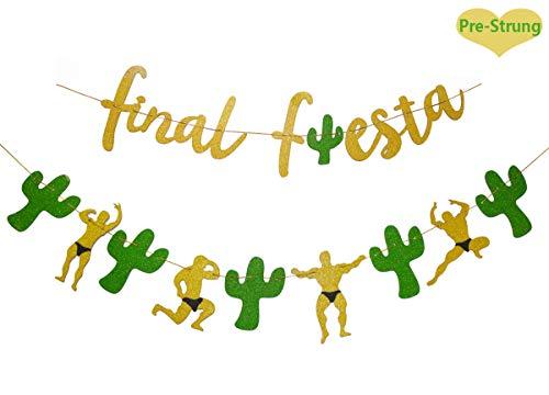 Gold Glittery Final Fiesta Banner and Glittery Cactus