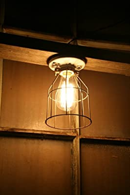 Industrial Light Vintage Style Porcelain Mount Fixture with Metal Wire Cage Guard by Industrial Rewind
