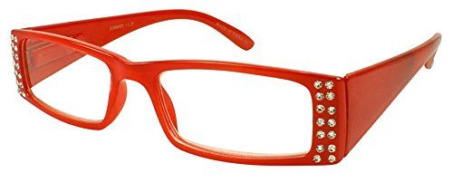 - Edge I-Wear Women's Clear Rhinestone Lightweight Rectangular Clear Lens Reading Glasses 31806SR-+1.75-3(CL+OR)