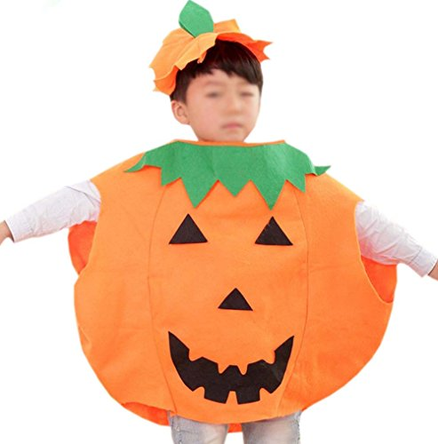 ANDES Child Party Clothing Orange Pumpkin Costume Suit for Christmas Holidy -