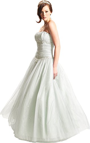 Beaded Mesh Fairy Prom Dress Formal Ball Gown, Medium, Ivory (Pacificplex Gowns)