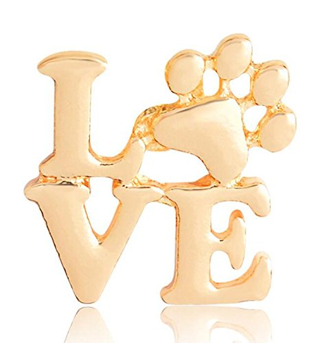 Pinjewelry Stylis Women's Accessories Fashion Love Word Dog Claw Shape Brooches Button Badge(Gold color) (Brooch Claw)