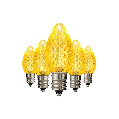 Holiday Lighting Outlet LED C7 Yellow Replacement Christmas Light Bulbs, Commercial Grade, 3 Diodes (Led's) in Each Bulb, Fits Into E12 Sockets, 25 Bulb Count ()