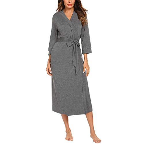Aniywn Women's Belt Long Robe Bathrobe Sleepwear Long Sleeve Soft Cotton Sleepwear Pure Color Nightshirt Dark Gray