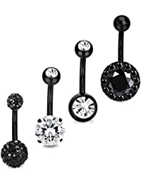 4PCS Stainless Steel Belly Button Rings Navel Body Jewelry Belly Piercing CZ Inlaid