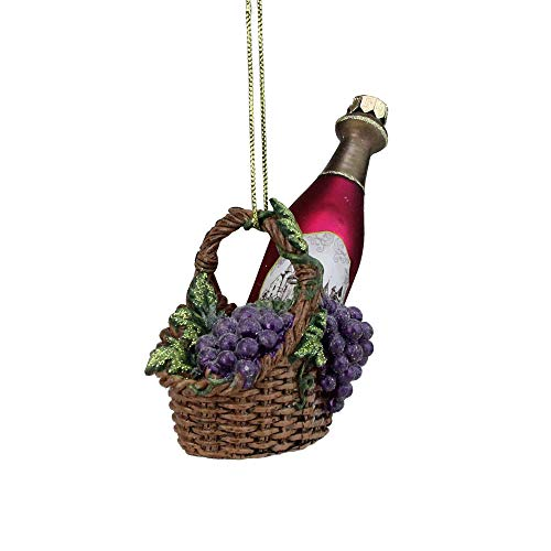 Tuscan Wine Basket - Northlight Tuscan Winery Purple Glass Wine Bottle in Basket Christmas Ornament, 4.5