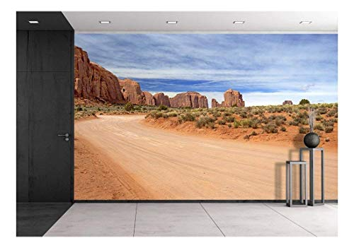 (wall26 - Scenic and Empty Dirt Road in Monument Valley - Removable Wall Mural | Self-Adhesive Large Wallpaper - 66x96 inches)